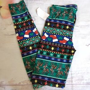 Planet Gold Christmas Pattern Legging Size S NWT